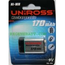 Piles rechargeables UNIROSS 9v 170mAh NiMH