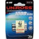 Piles rechargeables UNIROSS AAA 1000mAh NiMH Telephone (x2)