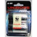 Piles rechargeables UNIROSS LR20 D 2600mAh NiMH (x2/x4)